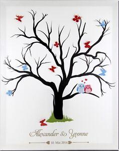Fingerabdruck Leinwand Hochzeit Taufe Weddingtree mit Namen mit Stempelkissen
