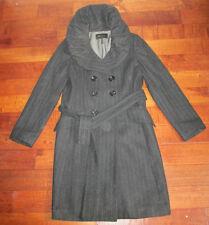 BCBG MAXAZRIA Women's Long charcoal gray Belted Wool pinstripe winter coat SZ M