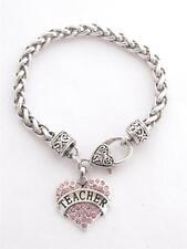 Teacher Appreciation Pink Crystal Heart Silver Lobster Claw Bracelet Jewelry