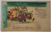 Birthday Wishes Beaded Flowers Silk Fringed Embossed Postcard D11