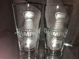 2019 STANLEY CUP CHAMPION ST. LOUIS BLUES LOGO (2) ETCHED 16 OUNCE PINT GLASSES