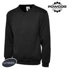 MENS PREMIUM V NECK JUMPER Heavy 300gsm Warm Sweater UC204 | XS - 4XL | 4 COLOUR
