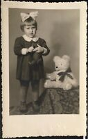 Studio Real Photo Postcard RPPC ~ Little Girl & Large Antique Teddy Bear