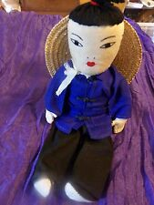 ANTIQUE handsewn  ,--- signed----- DOLL FROM CHINA--EARLY 1900s
