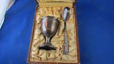 ancien coffret coquetier et cuillere en metal argenté st louis XVI epoque 1920