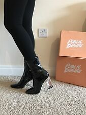 Size 5 Public Desire Black Faux Leather PVC CHLOE Perspex Heel Ankle Boots Shoes