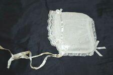 VINTAGE INFANT BONNET HAT WHITE EYELET LACE BABY DOLL REBORN