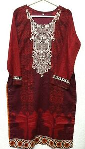 Pakistani Casual Stitched Shalwar Kameez  Embroided Lawn Suit & Chiffon Dupata/N