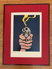 "Roy Lichtenstein (Reproduction) ""Smoking Gun"" - Signed Limited Edition Serigraph"
