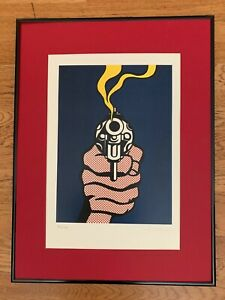 "Roy Lichtenstein (Reproduction) ""Smoking Gun"" - Signed Limited Edition Serigraph"