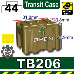 Dark Tan TB206 Military Transit case compatible with toy brick minifigure