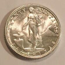 1945-D PHILIPPINES 20 CENTAVOS .750 SILVER WW11 COIN  AU  #3846