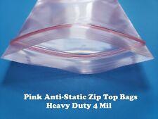 New Listingantistatic Pink 4 Mil Top Zip Lock Seal Heavy Duty Anti Static Reclosable Bag