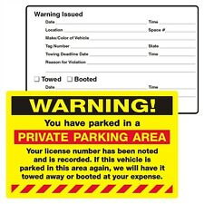 Pack of 10 WARNING! PRIVATE PARKING AREA Sticker 8x5 pk2054fy