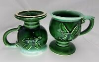 Eagle Mugs Mccoy Pottery Tiara Green Drip Glaze Vintage Set of 2 Cups