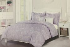 Nicole Miller Purple Silver Butterfly Paisley Full Queen Comforter Bedding 5 Pcs