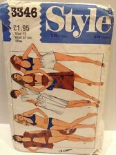 SEWING PATTERN STYLE 3346 BEACH ROBE COVER UP/WRAP SKIRT/SHORTS/BIKINI SIZE 12