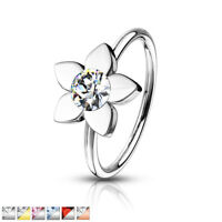 1pc Crystal Gem Flower Nose Hoop / Cartilage Ring Rook Daith Helix Tragus