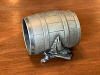 "Antique Silverplate Decorative Barrel w/ Logs Napkin Ring ""John"""