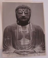 "LARGE ANTIQUE PHOTOGRAPH GIANT BUDDHA OF KAMAKURA JAPAN 14"" x 11"" BLACK WHITE"