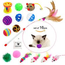 16pcs/lot Bulk Cat Toys Feather tTaser Wand Mice Balls Bell Catnip Play Toy Fun