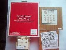 Mind Teaser, Set of 4 steel Puzzle Rings~2 Square Wooden Puzzles~1~Wooden Square