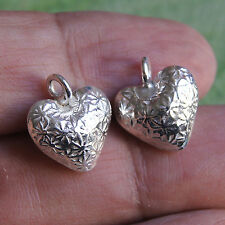 Silver Thai Karen Hill Tribe Heart One Pair Pendant 98%
