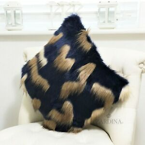 Zardina - Luxury Faux Fur Fluffy Scatter Cushion (Midnight Blue & Beige)