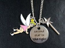 TINKERBELL PETER PAN fairy tale necklace silver plate  'SECOND STAR FROM  RIGHT'