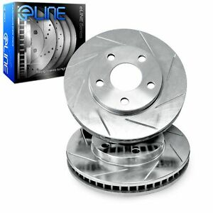 Front R1 Concepts eLine Silver Diamond Slotted Brake Rotors