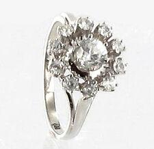 585 ECHT WEIßGOLD *** Gold Zirkonia Blume Ring  Gr. 56  (18)