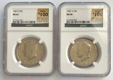 1987 P & D KENNEDY 50C HALF DOLLAR Rank #100 Greatest U.S. Coins NGC MS 66;I903