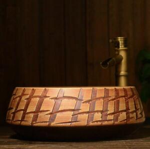 Mediterranean Bathroom Cloakroom Ceramic Counter Basin Sink Washing Bowl