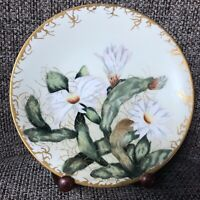 Antique Limoges Hand Painted Plate Signed Mabel Mason Gold White Cactus Flower
