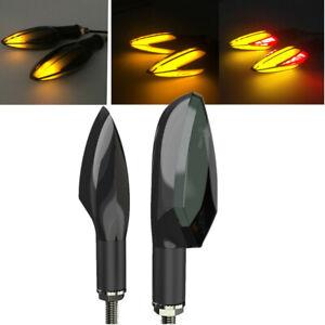 1 Pair 12V Water Flowing Motorcycle LED Turn Signal Indicator Light with Braking