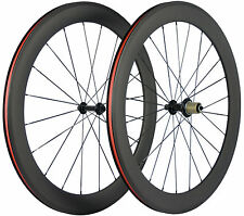 700C 60mm Clincher Road Rim Bike/Bicycle Carbon Wheelset Front & Rear Wheels