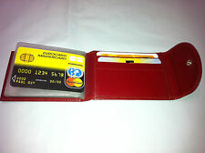 Leather Mini Wallet w/Credit Card & Business Card Holder- Red (AEC-23)