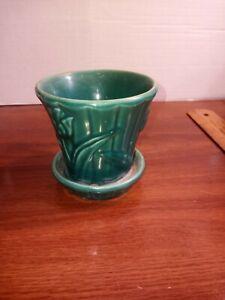 Vintage Pottery Planter Green with Tulups McCoy ( Read Description )