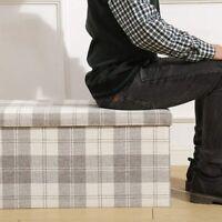 LARGE TARTAN LINEN FOLDING STORAGE OTTOMAN POUFFE SEAT FOOT STOOL STORAGE BOX