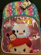 "Disney Tsum Tsum 16"" School Backpack Ariel Minnie Mouse Cinderella Girl"