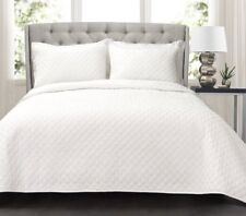 WHITE DIAMOND Full / Queen QUILT SET : COTTON MATELASSE QUILTED LUXURY COTTAGE