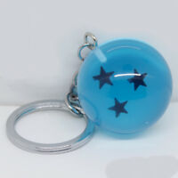 Hot Anime Dragon Ball Keychain Blue Crystal Ball Pendant Keyring Cosplay 3 Stars