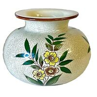 """Vintage Round Squat 5"""" x 7"""" Boho Crackle Vase Yellow Brown Flowers Made In Japan"""