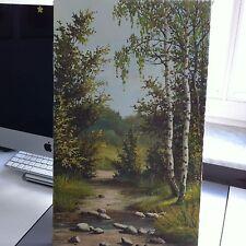 ORIGINAL UNIKAT Bild Leinwand Acryl Gemälde Natur Birken Hain Kunst 60-ger?