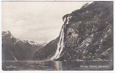 NORWAY - Geiranger - De Syv Sostre - 1934 postally used real photo postcard