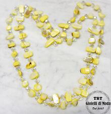 Giallo Collana Lunga Madreperla,perle,pietre Dure,cristalli da donna