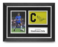 Gianfranco Zola Signed A4 Photo Framed Captains Armband Display Chelsea + COA