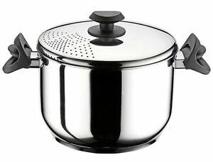Stainless Steel Stockpot Pasta Spaghetti Pot Locking Strainer Lid Induction Base