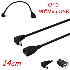 GPS Mini USB 90 Degree Upper Bend Male to Female OTG Extension Fast Lead Cable
