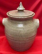 Kim Ellington, N. C. Art Pottery, Hart Square Kiln Fired Salt Glaze Cookie Jar